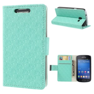 Maze Pattern Wallet Leather Case for Samsung Galaxy Trend Lite S7390 S7392 w/ Stand - Cyan