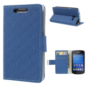 Maze Pattern Wallet Leather Cover for Samsung Galaxy Trend Lite S7390 S7392 w/ Stand - Blue
