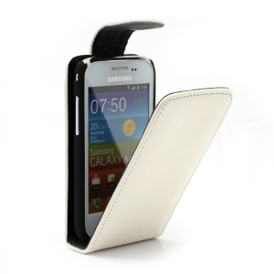 Glossy Leather Magnetic Flip Case Cover for Samsung Galaxy Ace Plus S7500 - White