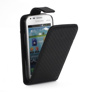 Carbon Fiber Leather Vertical Flip Case for Samsung Galaxy S Duos S7562