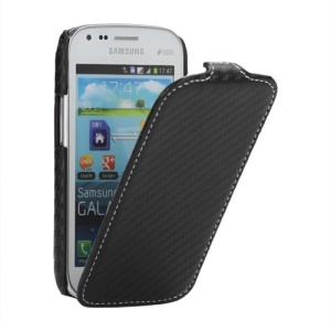 Carbon Fiber Leather Skin Case for Samsung Galaxy S Duos S7562 S7560 S7560M S7582 S7580 - Black