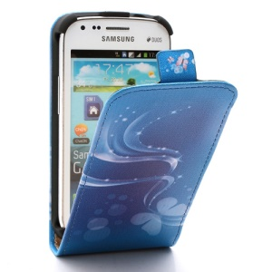 Blue Stripe and Butterfly Vertical Leather Flip Case for Samsung Galaxy S Duos S7562 S7560 S7560M
