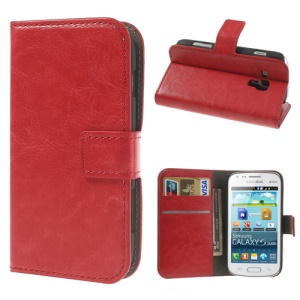 Red Crazy Horse Leather Wallet Case for Samsung Galaxy S Duos S7562 / Ace II X S7560M S7560