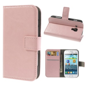 Pink Crazy Horse Leather Wallet Case for Samsung Galaxy Ace 2 X S7560M S7560 / S Duos S7562