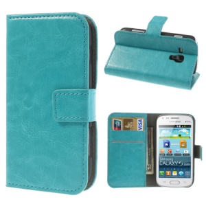 Light Blue Crazy Horse Leather Wallet Case for Samsung Galaxy Ace II X S7560M S7560 / S Duos S7562