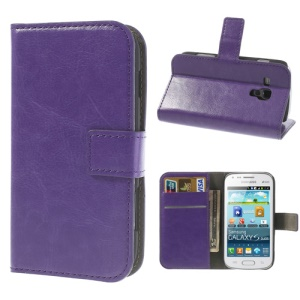 Purple Crazy Horse Leather Wallet Case for Samsung Galaxy Ace II X S7560M S7560 / S Duos S7562