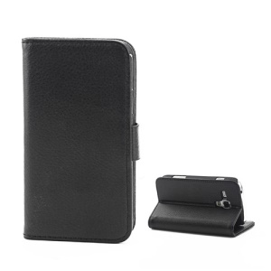 Magnetic Litchi Leather Card Holder Stand Case for Samsung Galaxy S Duos S7562 - Black