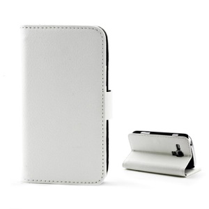 Magnetic Litchi Leather Card Holder Stand Case for Samsung Galaxy S Duos S7562 - White