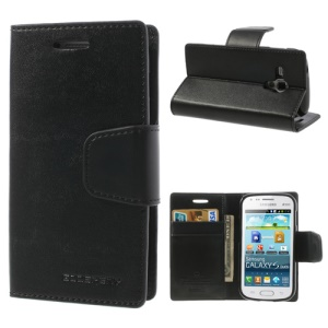 Black Mercury Goospery Sonata Diary Leather Case for Samsung Galaxy S Duos S7562 S7560 S7560M S7582 S7580