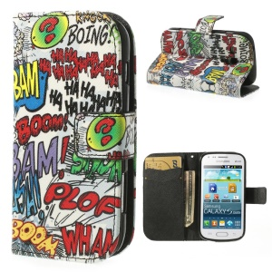 Haha Bam Boom Leather Wallet Cover for Samsung Galaxy S Duos S7562 / Ace II X S7560M S7560