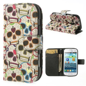 Colored Skull Heads Leather Wallet Case for Samsung Galaxy S Duos S7562 / Ace II X S7560M S7560
