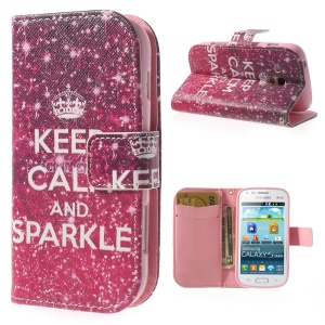 Keep Calm and Sparkle Leather Card Slot Case for Samsung Galaxy S Duos S7562 / Ace II X S7560M S7560