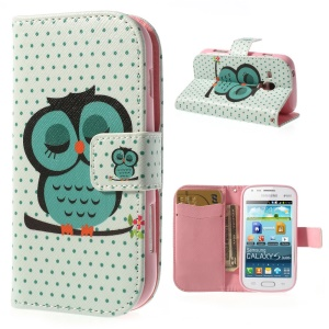 Sleeping Owl Leather Card Slot Cover for Samsung Galaxy S Duos S7562 / Ace II X S7560M S7560
