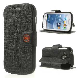 Black MLT Linen Leather & TPU Case w/ Stand for Samsung Galaxy S Duos S7562 / S7560M / S7560 / S7580 / S7582