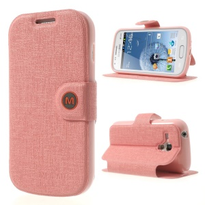 Pink MLT Linen Leather & TPU Case w/ Stand for Samsung Galaxy S Duos S7562 / S7560M / S7560 / S7580 / S7582