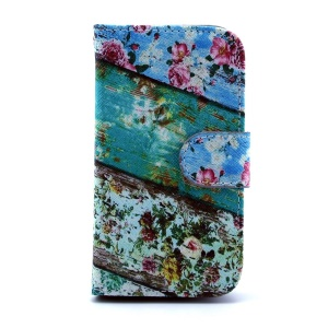 PU Leather Flip Wallet Cover for Samsung Galaxy S Duos S7562 S7582 - Roses Flower