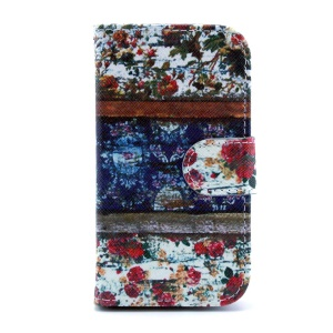 Leather Flip Wallet Cover for Samsung Galaxy S Duos S7562 S7582 - Flowers Painting