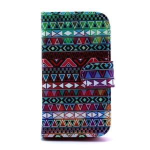 PU Leather Wallet Case for Samsung Galaxy S Duos S7562 S7582 - Aztec Tribal Pattern