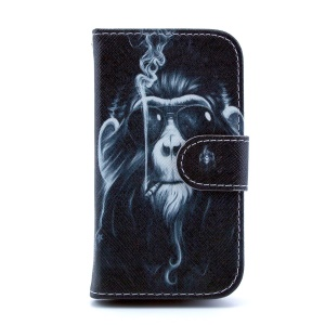 For Samsung Galaxy Trend S7560 S7580 Leather Wallet Case - Funny Monkey Smoking