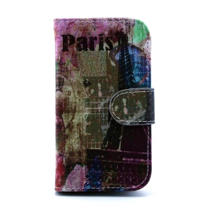 For Samsung Galaxy Trend S7560 S7580 Leather Card Slot Case - Paris Eiffel Tower