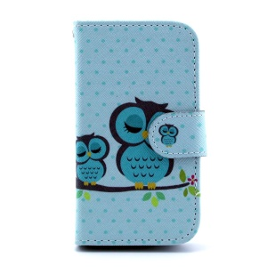 For Samsung Galaxy Trend S7560 S7580 Leather Stand Cover - Green Sleeping Owl