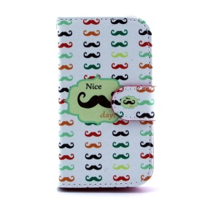 For Samsung Galaxy Ace II X S7560M Leather Case Card Holder - Colored Mustaches
