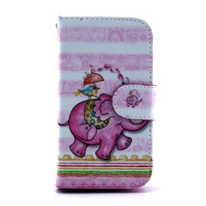 For Samsung Galaxy S Duos S7562 S7582 Flip Leather Case - Cartoon Elephant & Bird