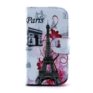 For Samsung Galaxy Trend S7560 S7580 Flip Leather Cover - Paris Elements Pattern