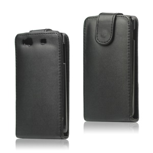 Black Leather Flip Case for Samsung Wave 3 / III S8600