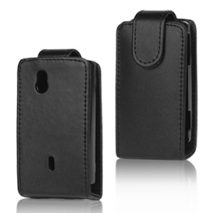 Vertical Leather Flip Case for Sony Ericsson Xperia Mini Pro SK17i - Black