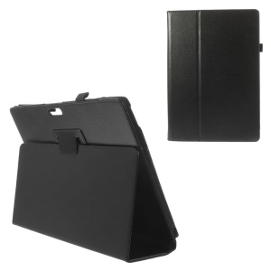 Litchi Grain Leather Cover w/ Stand for Microsoft Surface Pro 3 - Black