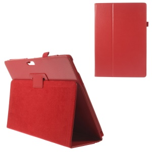 Litchi Grain PU Leather Stand Case for Microsoft Surface Pro 3 - Red