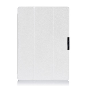 Tri-fold Silk Texture Leather Cover for Microsoft Surface Pro 3 - White