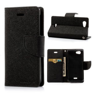 Mercury Fancy Diary for Sony Xperia J ST26i ST26a Wallet Leather Case - Black