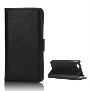 Left and Right Open Litchi Leather Wallet Case Stand for Sony Xperia J ST26i ST26a - Black