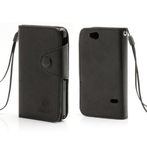 Folio MLT Leather Wallet Case Cover for Sony Xperia Go ST27i ST27a - Black