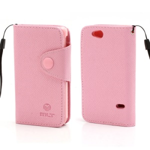 Folio MLT Leather Wallet Case Cover for Sony Xperia Go ST27i ST27a - Pink