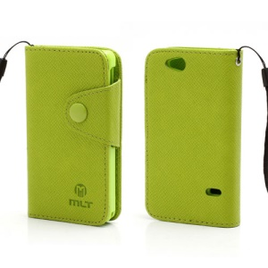 Folio MLT Leather Wallet Case Cover for Sony Xperia Go ST27i ST27a - Green