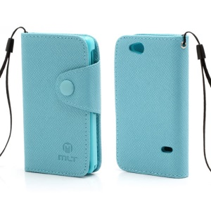 Folio MLT Leather Wallet Case Cover for Sony Xperia Go ST27i ST27a - Blue