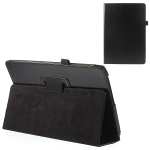 Black Litchi Texture Flip Leather Stand Case w/ Elastic Loop for Acer Aspire Switch 10