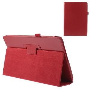 Red Litchi Texture Flip Leather Stand Shell w/ Elastic Loop for Acer Aspire Switch 10