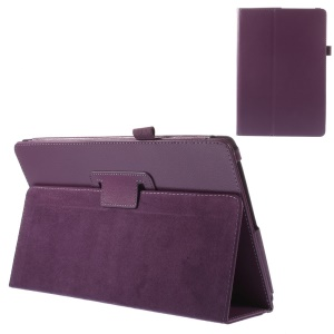 Purple Litchi Texture Stand Leather Cover w/ Elastic Loop for Acer Aspire Switch 10
