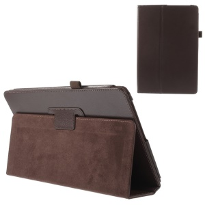 Coffee Litchi Texture Stand Leather Shell w/ Elastic Loop for Acer Aspire Switch 10