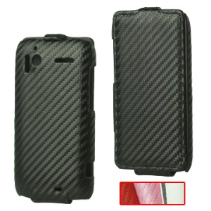 Carbon Fiber Leather Flip Case for HTC Sensation 4G G14 XE