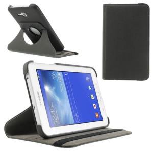 Grey 360 Rotary Stand Twill Grain Leather Shell for Samsung Galaxy Tab 3 7.0 Lite T110 T111 w/ Card Slot