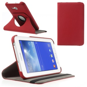 Red 360 Swivel Twill Grain Leather Cover Stand for Samsung Galaxy Tab 3 7.0 Lite T110 T111 w/ Card Slot