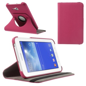 Rose Twill Grain Leather Case for Samsung Galaxy Tab 3 7.0 Lite T110 T111 w/ 360 Swivel Stand & Card Slot
