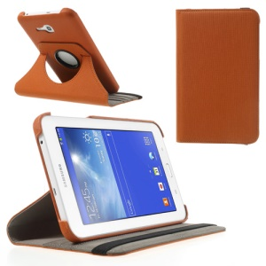 Orange Twill Grain Card Slot Leather Cover for Samsung Galaxy Tab 3 7.0 Lite T110 T111 w/ 360 Swivel Stand
