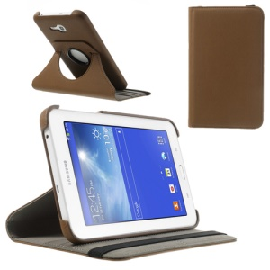 Brown 360 Rotary Stand Twill Leather Protective Shell for Samsung Galaxy Tab 3 7.0 Lite T110 T111