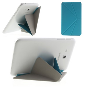 Blue Origami Leather Case Shell for Samsung Galaxy Tab 3 7.0 Lite T110 T111 w/ Stand